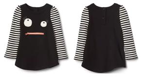 505d48950cad GAP Baby Girls Black White Striped Monster Long Sleeve Dress NEW ...
