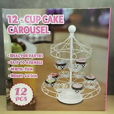 NEW, 12- Cupcake Metal Carousel Holder Decorating Display Party Tools in White