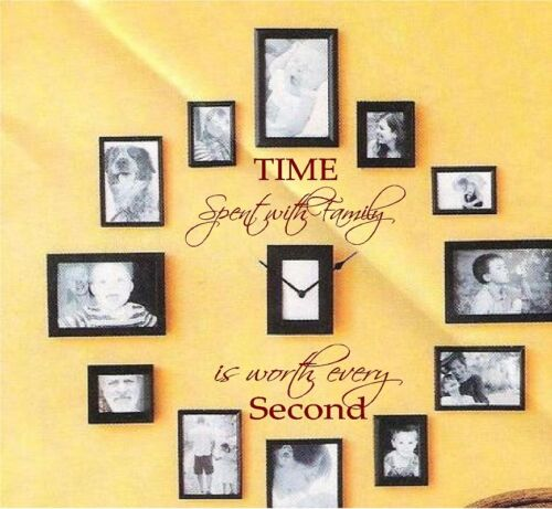 TIME SPENT WITH FAMILY IS WORTH EVERY SECOND VINYL WALL DECAL WALL LETTERS