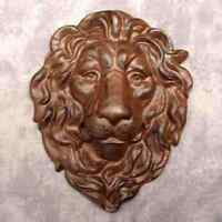 Majestic Lion Head Cast Iron Wall Sculpture Antiqued Brown