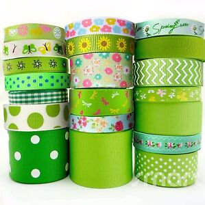 20x1-Yards-Assorted-Grosgrain-Ribbon-20-Styles-3-8-034-1-5-034-Green-Theme-Craft-Bow