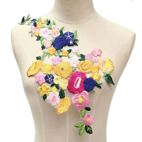 Flower Motif Collar Sew on Patch Applique Badge Embroidered Bust Dress IN9