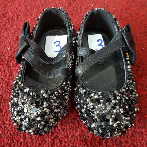 Party Black-LS-01 Communion, Girls Sequinned Shoes Flower-Girl Bridesmaid