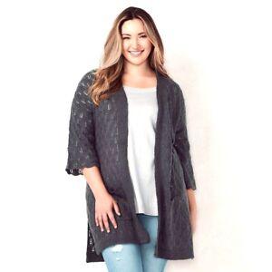 Cardigan Sweater L Størrelse Ny Lauren Lc Trækul Conrad Kvinder 190917031164 Pointelle wHYX7w