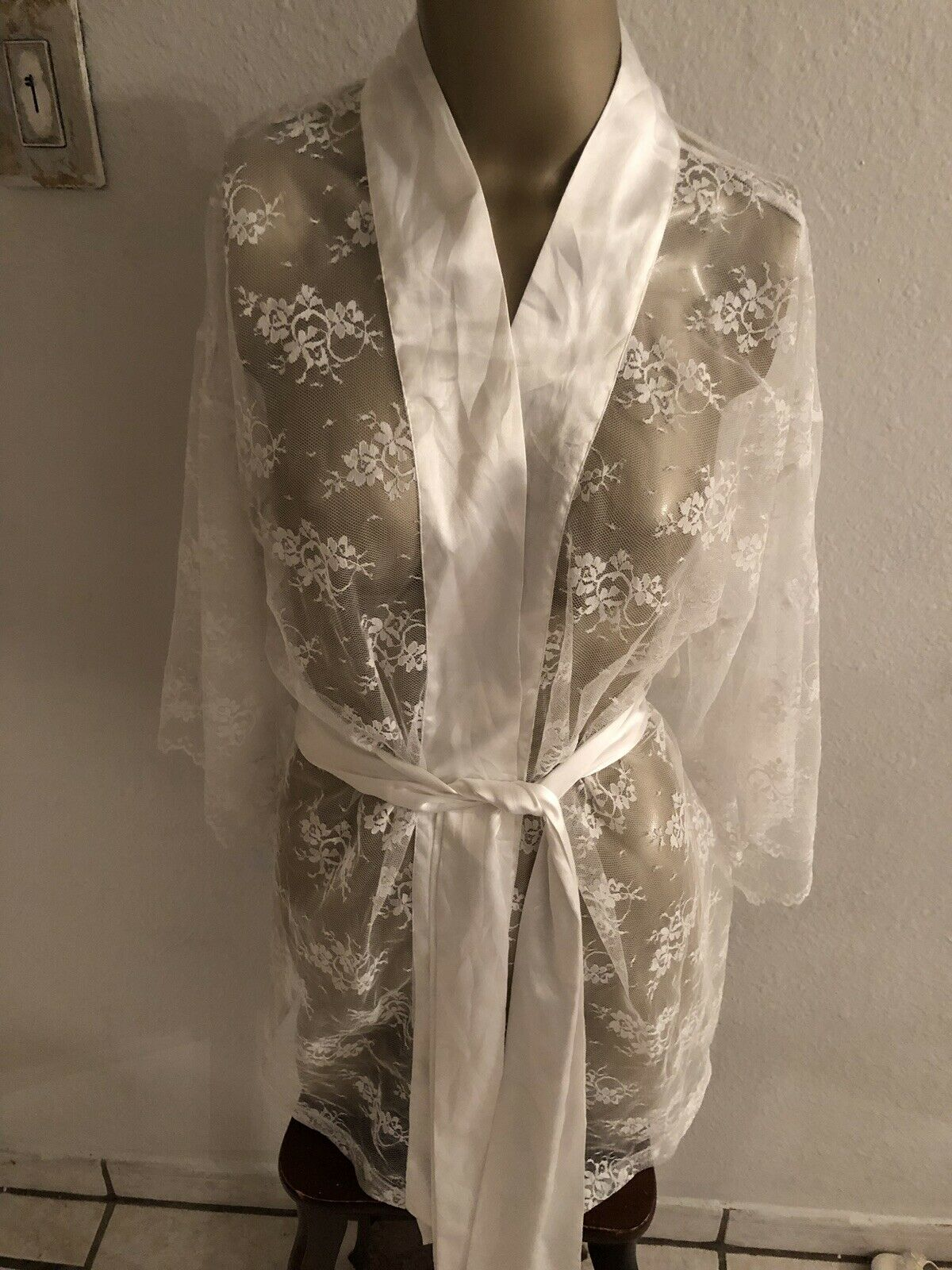 I Do Victorias Secret All Lace White Bride Robe Size OS Lingerie Cover Up Womens