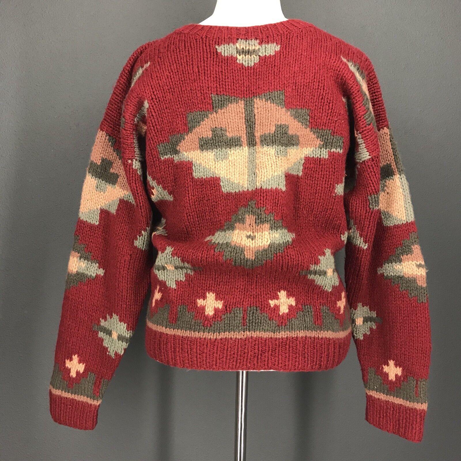 Christmas Sweater M Mens Vtg 1989 EDDIE BAUER Red Green Southwest 100% Wool