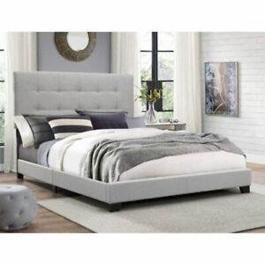 Details About California King Platform Bed Frame Tuft Headboard Upholstered Bedroom Furniture