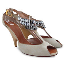 NEW GIUSEPPE ZANOTTI Crystal Suede T-Strap Sandals - Beige - Size 37