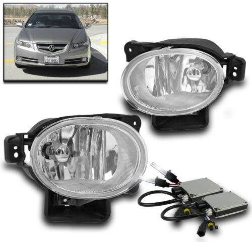 07-08 ACURA TL BASE TYPE-S BUMPER DRIVING FOG LIGHTS LAMP CHROME W//6000K HID KIT