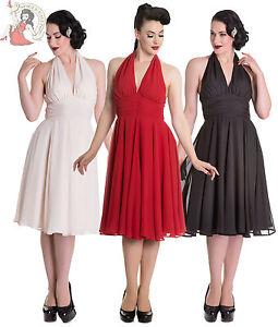 HELL-BUNNY-marilyn-MONROE-50s-estilo-vestido-fiesta-noche-coctel-NEGRO-CREMA