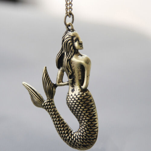 Collier De Bijoux Fantaisie Bronze Vintage Pendentif Sirène Collier Coo wv