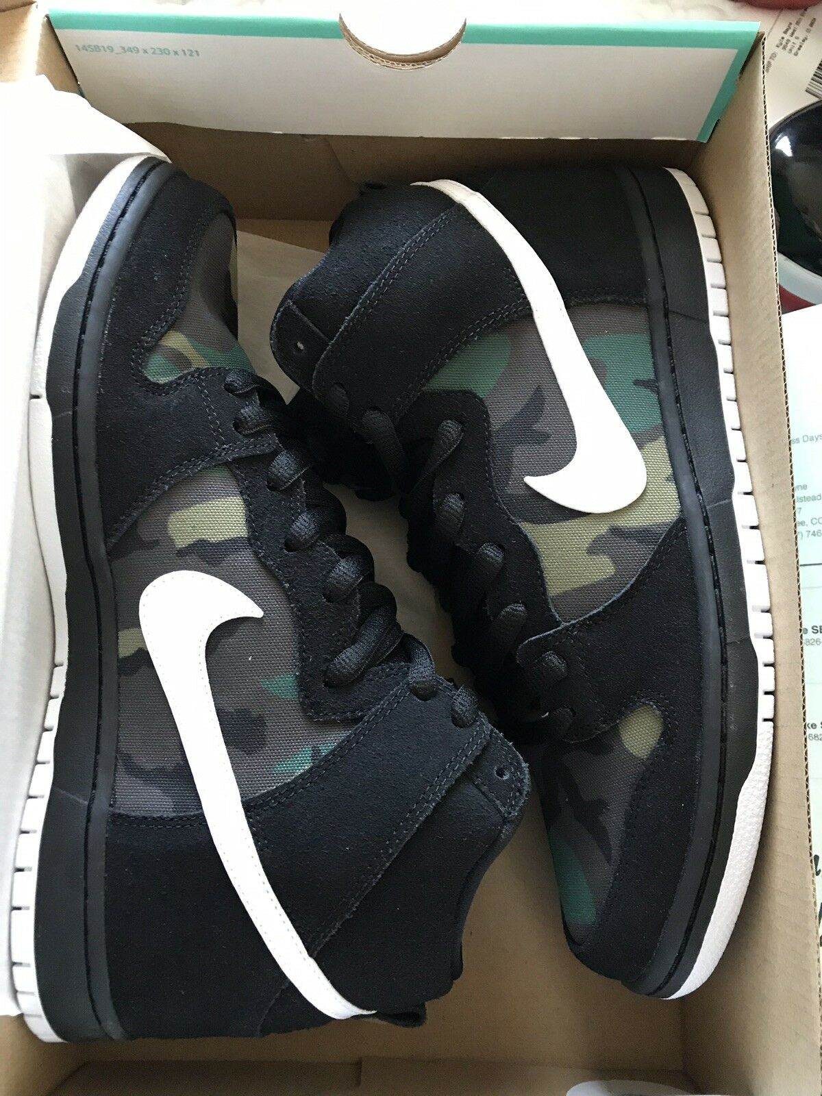 Sb Dunk High White Black Camo Size 11