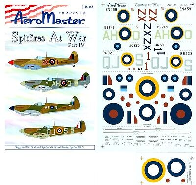 Decals 1/48 Iv Packing Of Nominated Brand Spitfires At War Pt Ingenious Aeromaster 48-465