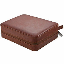 4 Watch Box Travel Case, Storage, Leather, Camel Color Lizard Patter