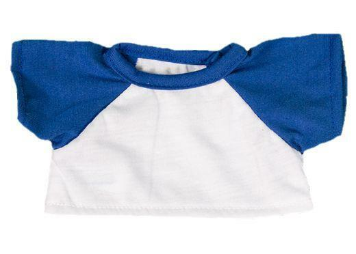 ec7b2569a32d White T-shirt With Royal Blue Sleeves Outfit Teddy Bear Clothes Fit 14 - 18  40 for sale online | eBay