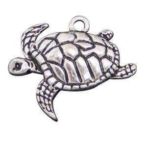 Details zu 50 Stk. Antik Silber Metall Schildkröte Charms Anhänger Schmuckzubehör #03919