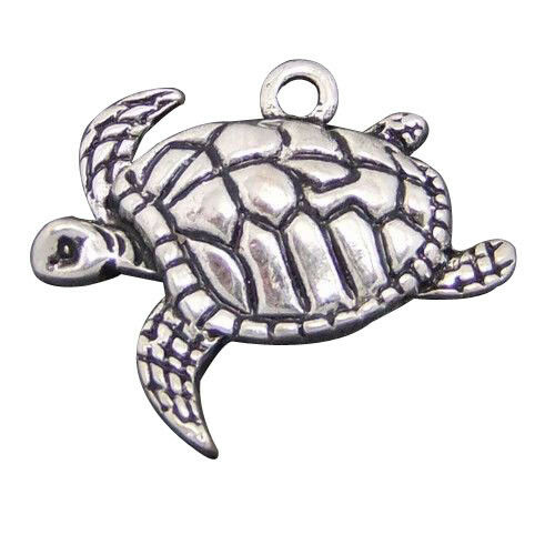 50 Stk Antik Silber Metall Schildkröte Charms Anhänger Schmuckzubehör #03919