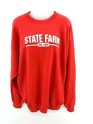 Dynamisch Champion Mens Jumper Sweater L Large Red Cotton & Polyester State Farm