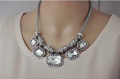 Fashion Design Silver Multi Crystal Rhinestone Geometry Bib Collar Necklace