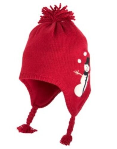 GYMBOREE SNOW CHILLIN/' RED SNOWMAN TRAPPER SWEATER HAT 0 12 24 2T 3T NWT
