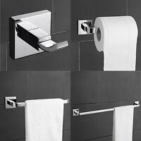 Modern Wall Mount Brass Chrome Bathroom Accessory 4 Piece Bath Collection Set