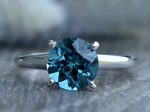 1.00 Ct Blue Round Diamond 14k White Gold Over Solitaire Engagement Wedding Ring