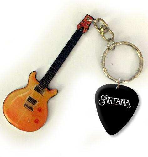 Santana Metal Mini Guitar Keyring /& Pick US