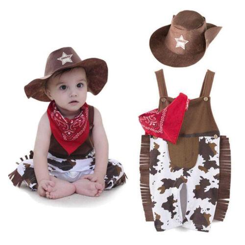 3pcs Baby Boy Kids Cowboy Outfit Hat+Bib+Pants Set Suit Fancy Clothes Dress Up