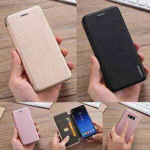 Mince-Coque-PU-Cuir-Magnetique-Flip-Etui-Portefeuille-Housse-pour-Apple-Samsung