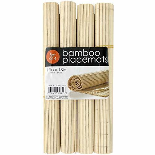 Kole Imports 4-Pc Roll-Up Natural Bamboo Placemats Set