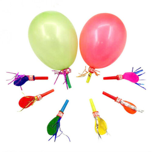 Balloon Whistle Sound Toys 50pcs//pack Birthday Wedding Party Latex Colorful