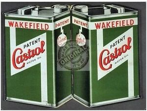 Castrol Motor Oil Can Vintage Wakefield Car Engine Classic Medium Metal Tin Sign