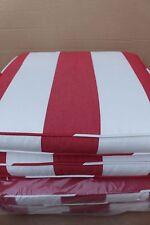 4 Pottery Barn Sunbrella Awning Stripe outdoor dining chair cushions jockey red