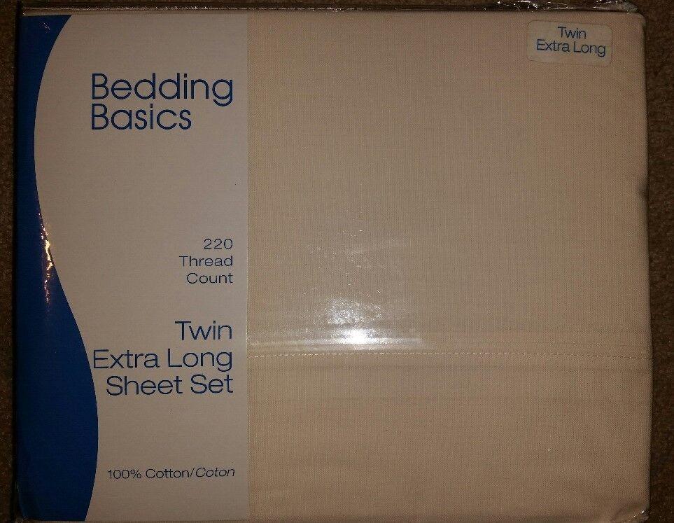 NEW Bedding Basics TWIN XL Sheet Set (220 thread count)  100% Cotton
