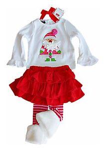 662ecbfcb Mud Pie Christmas 2-pc holiday Santa skirt set fur trim leggings 6-9 ...