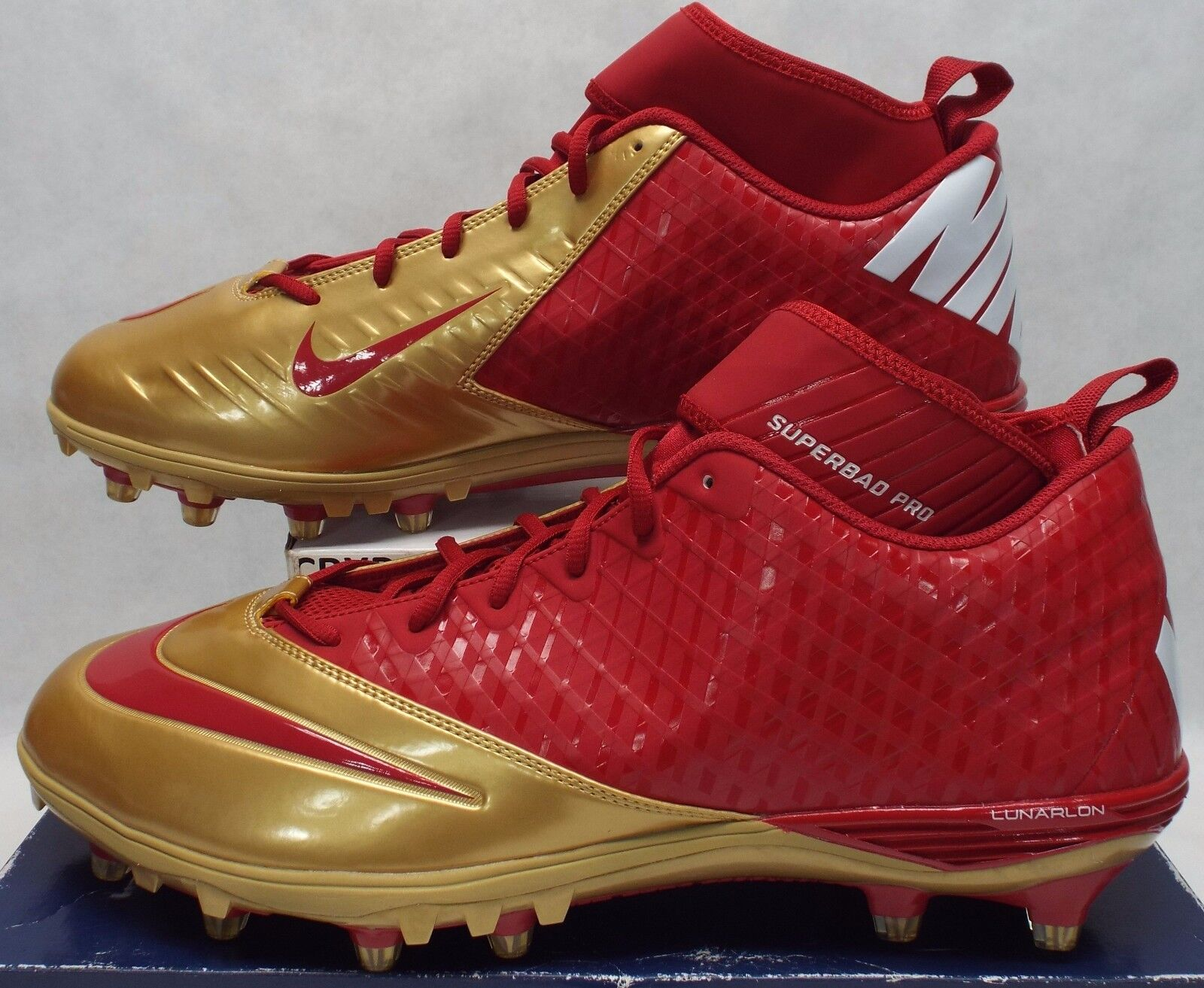 New Mens 16 NIKE Lunarlon Superbad Red Gold Cleats Shoes Price reduction