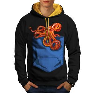 New cappuccio Contrast oro Octopus Pocket cappuccio Men con Black Felpa RSw6R