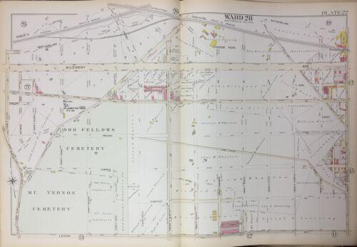 PA  MT VERNON ODD FELLOWS CEMETERIES PASTTIME PARK ATLAS MAP 1894 PHILADELPHIA