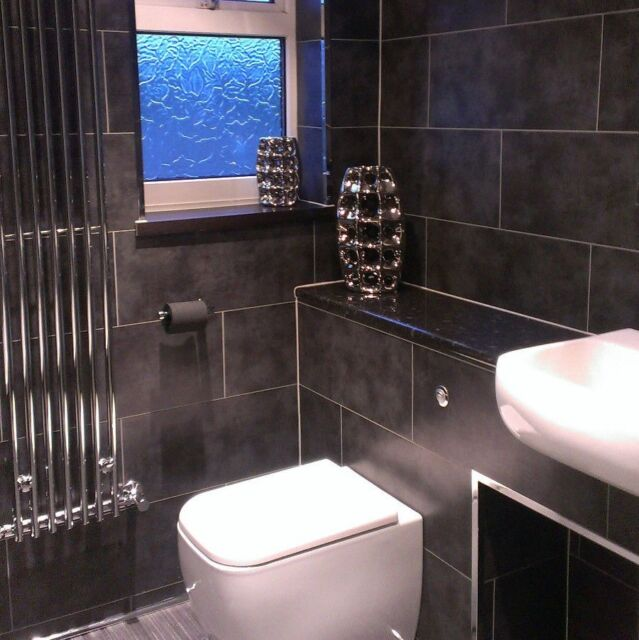 Wall Panels Bathroom: 2 X 8 Dark Concrete Tile Effect Wall Panels Bathroom