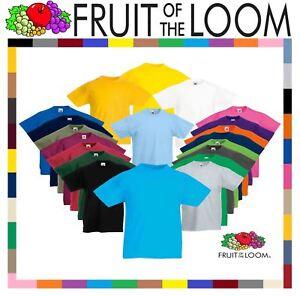 Fruit-Of-The-Loom-CHILDREN-039-S-T-SHIRT-PLAIN-TOP-KIDS-BOYS-GIRLS-SCHOOL-ALL-SIZES