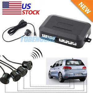 4 parking sensors led car auto backup reverse rear radar. Black Bedroom Furniture Sets. Home Design Ideas