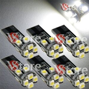 6-Lampade-Led-T10-Canbus-8-SMD-3528-No-Errore-Luci-BIANCO-Xenon-Lampadine-Targa
