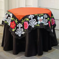 """Katherine's Collection Day Of The Dead Table Topper-54"""" Sq. Halloween Tablecloth"""