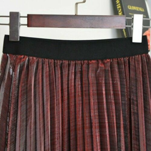 Mesh Skirt Metallic Pleated Midi Dress A-Line Glitter Shiny Casual Elastic Waist