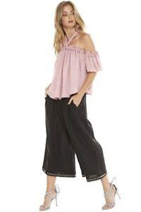 con pantaloni nero 242 Misa Imara crochet in uncinetto lavorazione alta oro a alta vita 568n7q