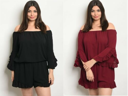 Womens Plus Size Black Wine Off Shoulder Long Sleeve Romper Jumpsuit 1X 2X 3X