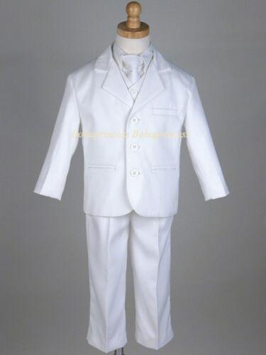 Sz 4//5//6 FORMAL 5 PCS White Communion SUIT set,Wedding//Baptism #20 NEW BOY