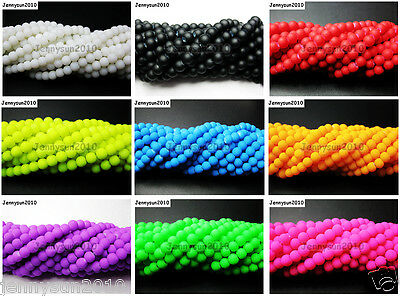 Matte Neon Frosted Glass Round Spacer Beads Long Strand 4mm 6mm 8mm 10mm 12mm
