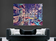DOWNTOWN HONG KONG POSTER NEON SIGNS SHOPS RESTAURANTS FOOD STORES  PRINT LARGE