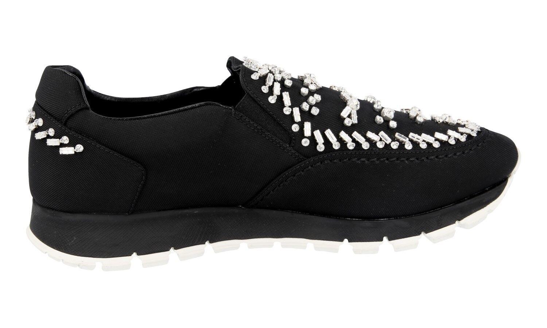 Autorización de lujo Prada Tenis Zapatos 1S877F 39,5 Negro + Estrás 39,5 1S877F 40 Reino Unido 6.5 d3beeb